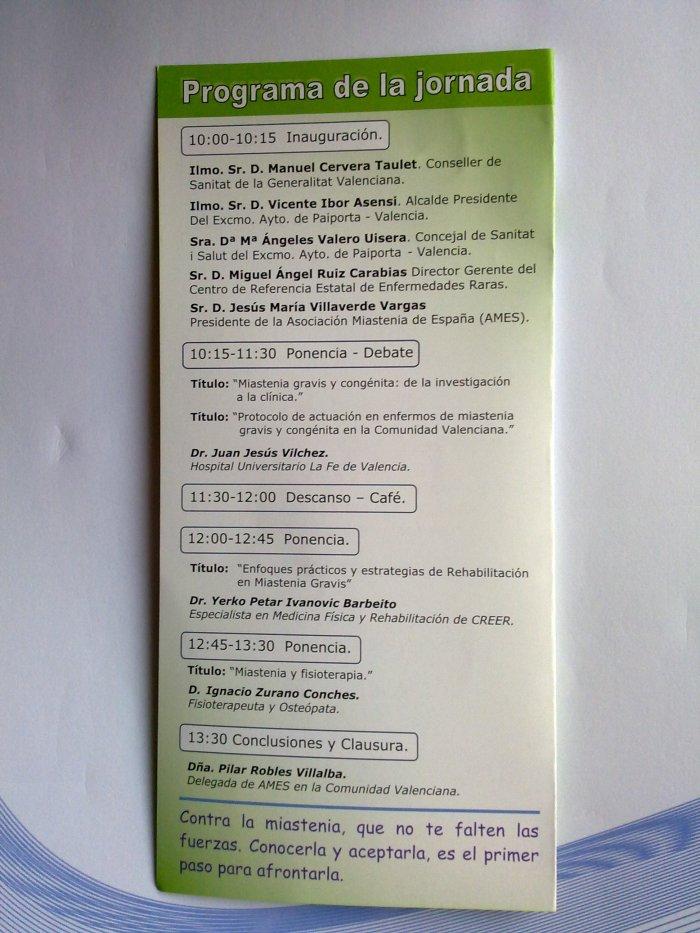 Programa Jornada Miastenia